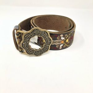 Lucky Brand Leather Embroidered Buckle Belt